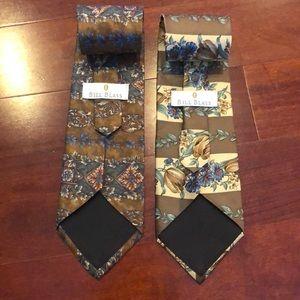 Men's Bill Blass floral ties 100% silk set of 2